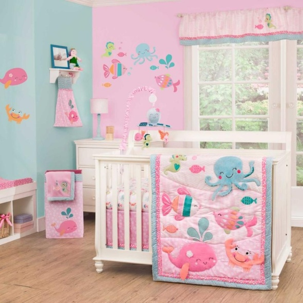 babygirl-s-room-sets-nurseries-for-girls-cribs-under-the-sea-baby-nursery-cheers-modern-chibi-cartoon-design-printed-on-walls-and-blanket-blue-pink-colour