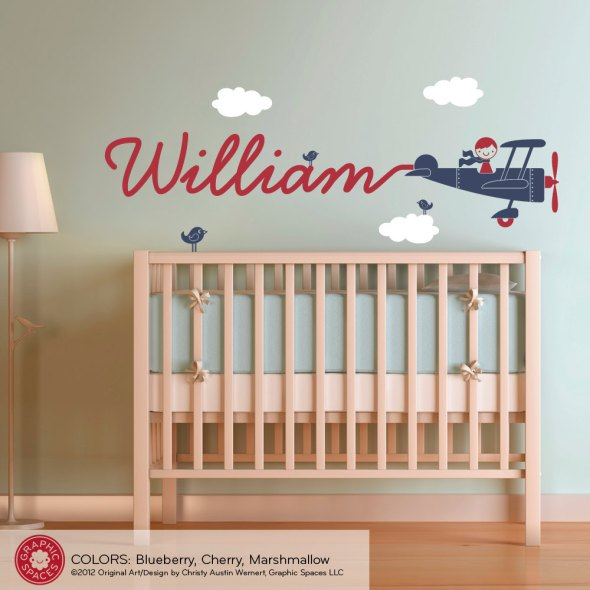 name-decal-boy-skywriter-travel-theme-nursery-kids-childrens-room-airplane-wall-sticker-william-typhography-red-by-plane-smoke-small-blue-bird-wooden-crib